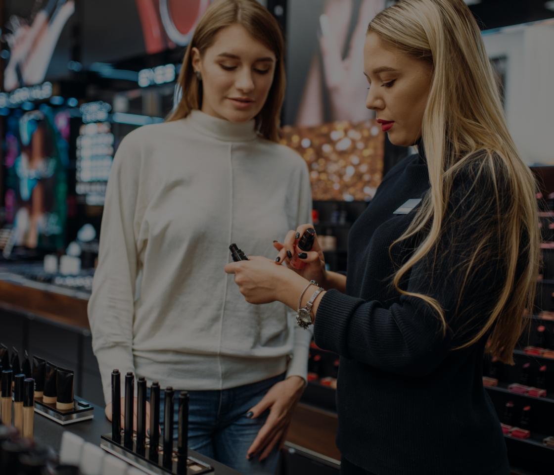 A customer looking at a beauty product