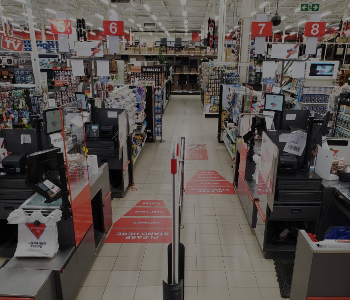 sneeze guards in Canadian Tire checkout lane